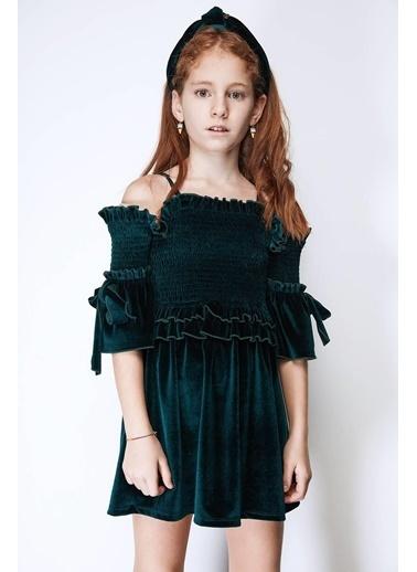 Tyess Kız Çocuk Yeşil Elbise Yeşil
